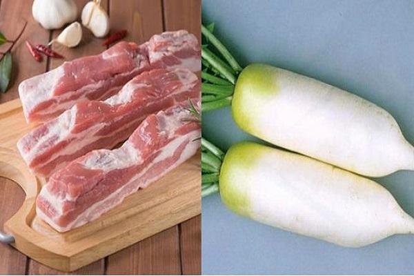 Nguyên liệu làm thịt kho củ cải kiểu nhật