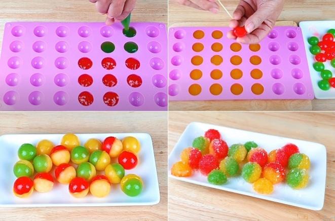 Đổ kẹo vào khuôn và tạo màu cho kẹo