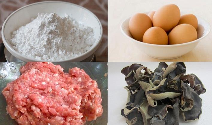 Nguyên liệu lám bánh cuốn trứng